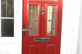 uPVC Door with Double Glazing & Red Finish